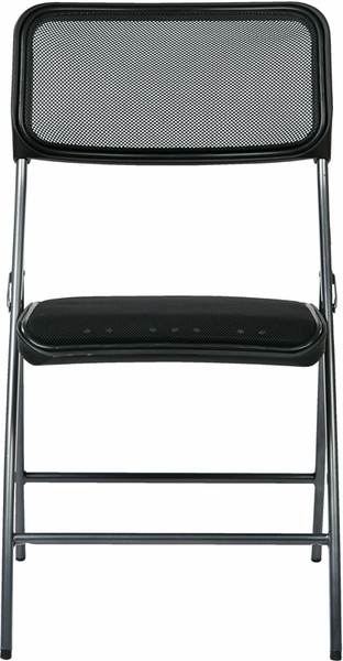 Work Smart Frame Folding Chair With Screen Seat And Back Set Of 2 Black