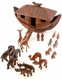 African Hand Carved Wooden Noahs Ark