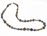 Paper Bead Long Multi-Colored Necklace