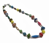 Paper Bead Short Multi-Colored Necklace