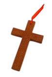 Soapstone Cross Ornament - Brown