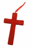 Soapstone Cross Ornament - Red