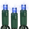 """50 LED Wide Angle String Lights - 6"""" Spacing - 25 Foot - Blue"""