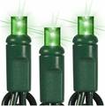 """50 LED Wide Angle String Lights - 6"""" Spacing - 25 Foot - Green"""