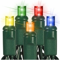 """50 LED Wide Angle String Lights - 6"""" Spacing - 25 Foot - Multi-Color"""