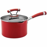Circulon 11464 Contempo Dishwasher Safe Nonstick 3 Quart Covered Straining Saucepan, Red - click to enlarge