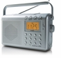 Coby CX789 Digital AM FM NOAA Radio with Dual Alarms, Silver