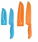 Farberware 5081809 Resin 5 Inch and 7 Inch Santoku Knife with 2 Bladed Covers, 4 Piece