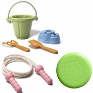Green Toys Sand Play Set Plus Pink Jump Rope and EcoSaucer Flying Disc - click to enlarge