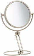 Jerdon MC449N 5 1/2 Inch Folding Two Sided Swivel Travel Mirror with 10x Magnification and Velveteen Storage Pouch, Nickel Fi - click to enlarge