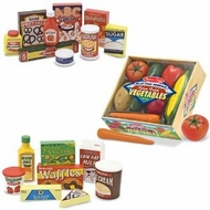 Melissa and Doug Wooden Fridge Food Set, Pantry Products and Playtime Veggies - click to enlarge