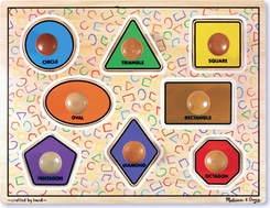 Melissa & Doug 3390 Large Shapes  Jumbo Knob Puzzle - click to enlarge