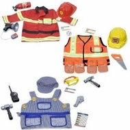 Melissa & Doug Deluxe Role Play Costume Bundle: Fire Chief, Construction Worker and Train Engineer for Boys Ages 3-6 - click to enlarge