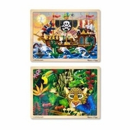 Melissa & Doug Deluxe Wooden 48- Piece Jigsaw Puzzle Bundle (2 Puzzles) - click to enlarge