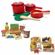 Melissa & Doug Deluxe Wooden Kitchen Accessory Set with Wooden Food Groups and Fridge Food - click to enlarge