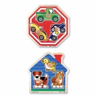 Melissa & Doug Jumbo Knob Puzzle Bundle: House Pets and Stop Sign - click to enlarge