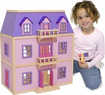 Mellissa & Doug 4570 Multi-Level Solid Wood Dollhouse - click to enlarge