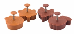 Paula Deen 55762 Signature Kitchen Tools 4-Piece Pie Press Cutters Set Pumpkin- Maple- Holly and Apple - click to enlarge