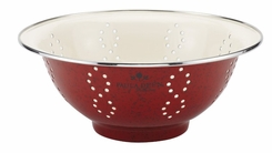 Paula Deen 56732 Signature Enamel on Steel 5 Quart Colander, Red Speckle - click to enlarge