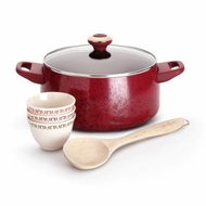 Paula Deen Signature Porcelain Nonstick 6-Piece Cookware Soup and Stew Set, Red Speckle - click to enlarge