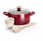 Paula Deen Signature Porcelain Nonstick 6-Piece Cookware Soup and Stew Set, Red Speckle