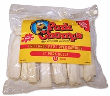 "Pork Chomps 4"" Rollz for Dogs - click to enlarge"