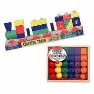 Preschool Boy Lacing Stacking Gift Set Primary Lacing Beads and Stacking Block Train By Melissa and Doug - click to enlarge
