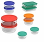 Pyrex 18-Piece Glass Food Storage Set with Multi-Color Lids