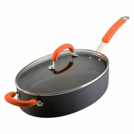 Rachael Ray 80651 Hard Anodized Nonstick 5-Quart Oval Saute Pan with Glass Lid, Orange - click to enlarge