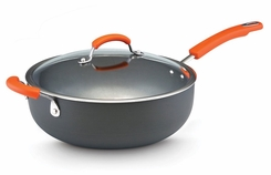 Rachael Ray 87498 Hard Anodized II Nonstick Dishwasher Safe 6 Quart Covered Chef Pan, Orange - click to enlarge