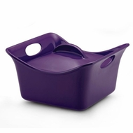 Rachael Ray Stoneware 3.5-Quart Covered Square Cassersquare Casserole Purple - click to enlarge