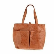 Sachi  K34687 Insulated Faux Ostrich Tote, Cognac Color - click to enlarge
