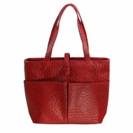 Sachi  K34687 Insulated Faux Ostrich Tote, Red - click to enlarge