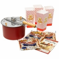 Whirley Pop 25103 Stovetop Popcorn Popper Theater Style Popcorn Set Red - click to enlarge