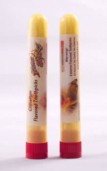 Wood Flavored Cinnamon Toothpicks 12qty in Plastic Reausable Tube