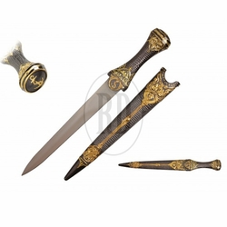 Two Tone Gold Dagger w/ Metal Scabbard