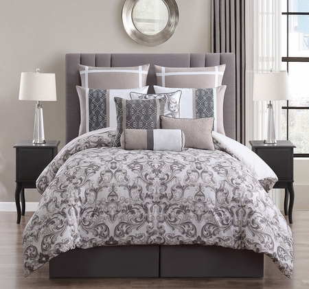 10 Piece Adeline Taupe/Ivory Comforter Set