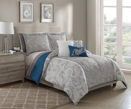 10 Piece Annalise Taupe/Teal/Ivory Comforter Set w/ Sheets
