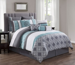 10 Piece Aubrey Spa/Gray/White Reversible Comforter Set