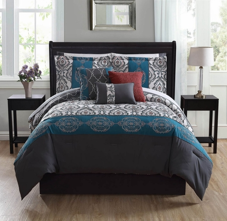 10 Piece Azita Teal/Charcoal/Ivory Comforter Set