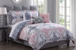 10 Piece Beatriz Denim/Blush Reversible Comforter Set
