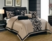10 Piece Cal King Dawson Black and Gold Comforter Set