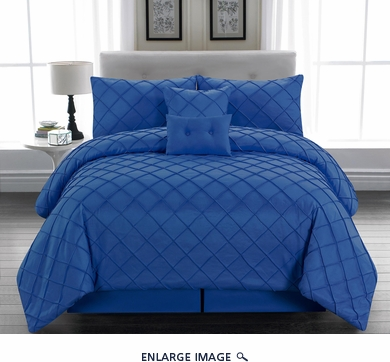 10 Piece Cal King Melia Blue Bed in a Bag Set