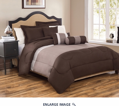 10 Piece Cal King Tranquil Coffee and Taupe Bed in a Bag Set
