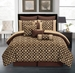 10 Piece Cal King Venturi Coffee and Tan Comforter Set