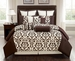 10 Piece Cal King Via Bella Chocolate and Taupe Comforter Set