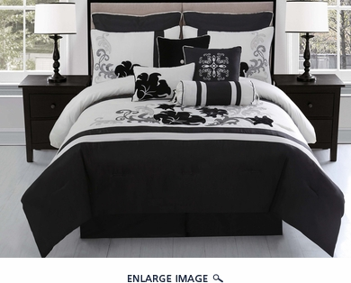 10 Piece Cal King Vienna Black and Gray Comforter Set