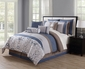 10 Piece Chloe Navy/Gray/Taupe Reversible  Comforter Set