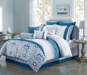 10 Piece Chloe Teal/Gray/Ivory Reversible Comforter Set