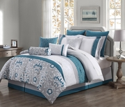10 Piece Chole Teal/Gray/Ivory Reversible Comforter Set